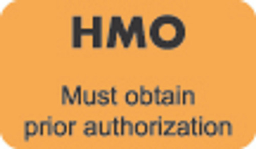 """HMO"" Label - Must Obtain Prior Authorization - Fl. Orange - 1 1/2"" x 7/8"" - Box of 250"