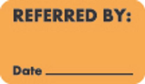 """Referred By:"" Label - Fl. Orange - 1 1/2"" x 7/8"" - Box of 250"