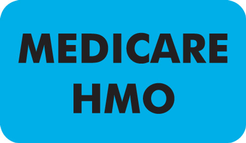 "'Medicare/HMO' Label - 1-1/2"" x 7/8"" - Light Blue - 250/Box"