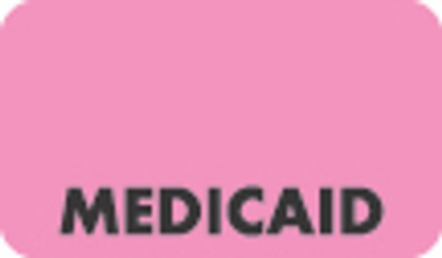"""Medicaid"" Label - Fl. Pink - 1-1/2"" x 7/8"" - 250/Roll"