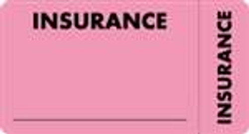 """Insurance"" Label - Fl. Pink - 3 1/4"" x 1 3/4"" - Box of 250 MAP5210"