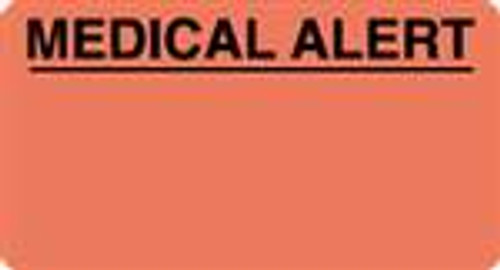 """Medical Alert"" Label - Fl. Red - 3-1/4"" x 1-3/4"" - 250/Box"