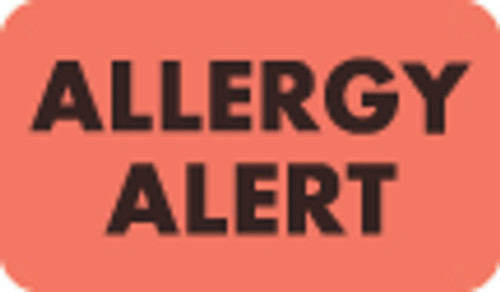"Allergy Alert Label - Fl. Red - 1 1/2"" - 7/8"" - Box of 250"