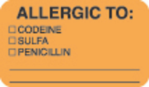 "Allergy Label - ""Allergic To: Codeine, Sulfa, Penicillin"" -   1 1/2"" x 7/8"" - Fl. Orange - Box of 250"