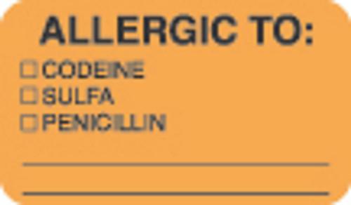 """Allergy Label - """"Allergic To: Codeine, Sulfa, Penicillin"""" -   1 1/2"""" x 7/8"""" - Fl. Orange - Box of 250"""