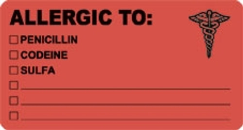 "Allergy Label: ""Allergic To: Penicillin, Codeine, Sulfa"" - 3-1/4"" x 1-3/4"" - Fl. Red - 250 Labels Per Box"