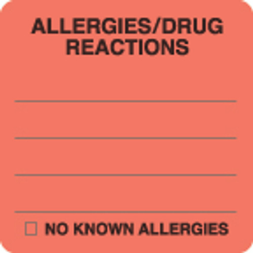 Allergies/Drug Reactions Label 3