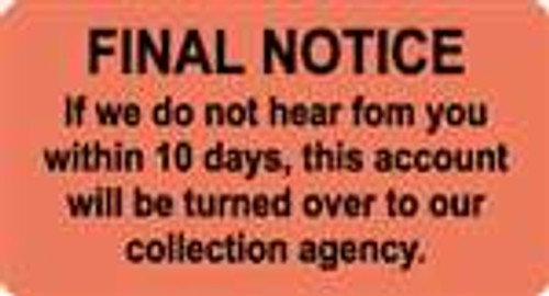 "'Final Notice' Billing Label - Fl. Red - 3-1/4"" x 1-3/4"" - 250/Box"