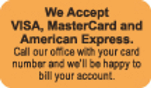 We Accept Visa, Mastercard and American Express Label