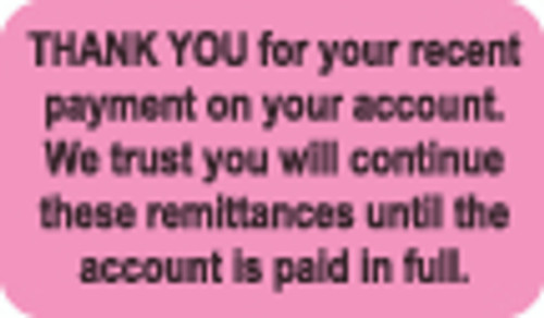 Thank You For Your Recent Payment Label