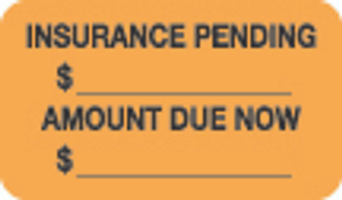 """Insurance Pending $...Amount Due Now $..."" Label - Fl. Orange - 1-1/2"" x 7/8"" - 250/Roll"