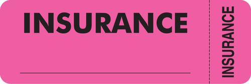 """Insurance"" Label - Fl. Pink - 3"" x 1"" - Box of 250"