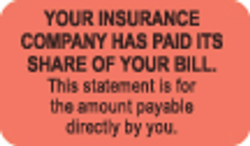 """""""Your Insurance Company Has Paid Its Share of Your Bill..."""" Label - Fl. Red - 1-1/2"""" x 7/8"""" - 250/Roll"""