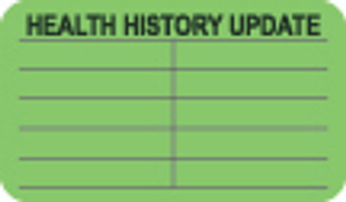 """Health History Update"" Label - Fl. Green - 1-1/2"" x 7/8"" - 250/Box"
