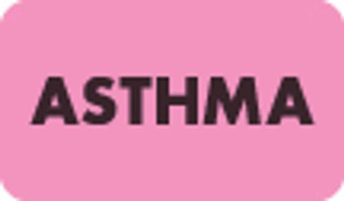 """""""Asthma"""" Label - Fl. Pink - 1-1/2"""" x 7/8"""" - 250/Box"""