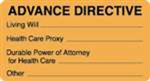 """Advance Directive"" Label - Fl. Orange - 3-1/4"" x 1-3/4"" - 250 Labels/Box"
