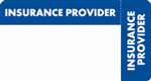 """Insurance Provider"" Label - Blue/White - 3 1/4"" x 1 3/4"" - Box of 250"