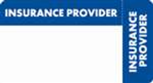 """Insurance Provider"" Label - Blue/White - 3 1/4"" x 1 3/4"" - Box of 250"
