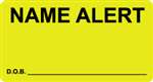 """Name Alert D.O.B.""  Label - Fl. Yellow - 3-1/4"" x 1-3/4"" - 250/Box"