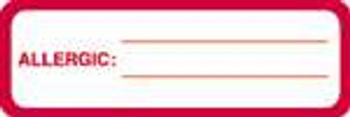 "Allergic: Label - White/Red - 3"" x 1"" - 250/Box"