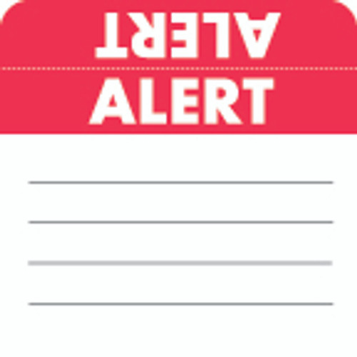 """Alert"" Label - White/Red - 2"" x 2"" - 250 Labels/Box"