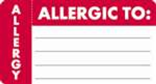 """Allergic To:"" Label - White/Red - 3-1/4"" x 1-3/4"" - 250/Roll"