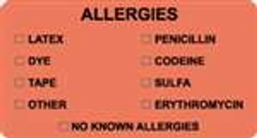 """Allergies - Latex, Dye, Tape, Other, Penicillin, Codeine, Sulfa, Erythromycin, No Know Allergies"" Label  -  Fl. Red - 3-1/4"" x 1-3/4"" - 250/Box"