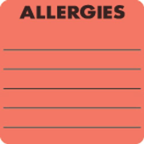 """Allergies"" Label - Fl. Red - 2"" x 2"" - 250/Box"