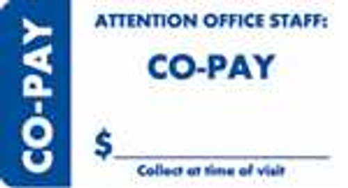 """Attention Office Staff: Co-Pay"" Specialty Label - 3-1/4"" x 1-3/4"" - White/Blue - 250/Box"