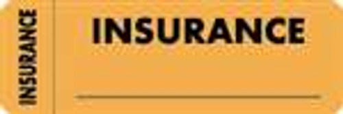 """Insurance"" Label - Fl. Orange - 3"" x 1"" - Box of 250"