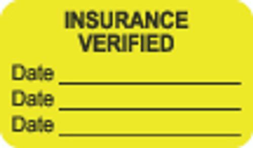 """Insurance Verified"" Label - Fl. Chartreuse - 1 1/2"" x 7/8"" - Box of 250"