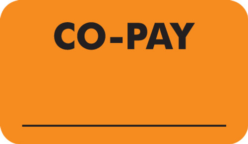 """Co-Pay"" Label 2 - Fl. Orange - 1 1/2"" x 7/8"" - Box of 25"