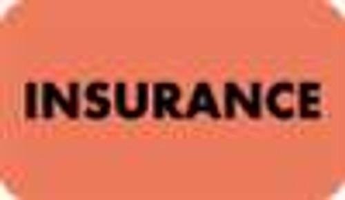 "Tabbies MAP2880-T4 - ""Insurance"" Label - Fl. Red - 1 1/2"" x 7/8"" - Box of 250"