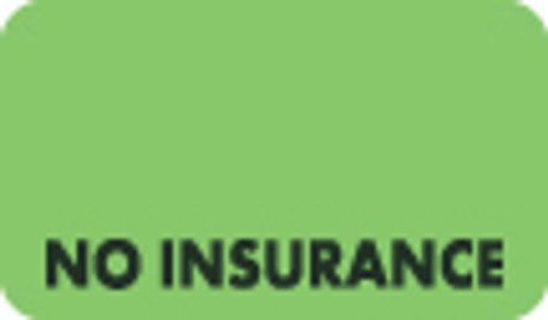 """No Insurance"" Label - Fl. Green - 1 1/2"" x 7/8"" - Box of 250"