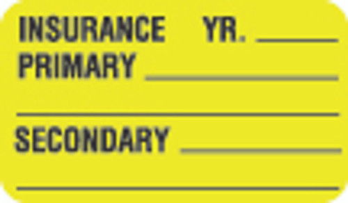 """""""Insurance"""" Label - Year, Primary, Secondary - Fl. Chartreuse - 1 1/2"""" x 7/8"""" - Box of 250"""
