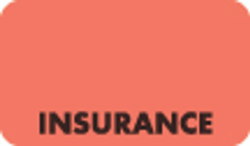 """Insurance"" Label - 1-1/2"" x 7/8"" - Fl. Red - 250/Box"