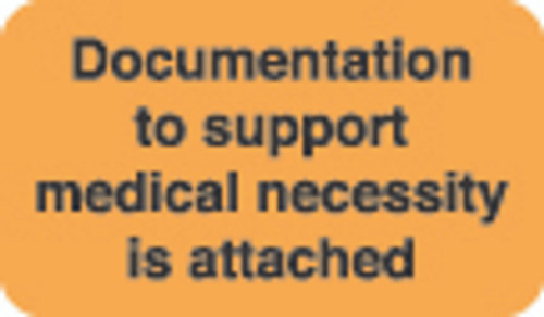 """Documentation To Support"" Label 1 - Fl. Orange - 1 1/2"" x 7/8"" - Box of 250"