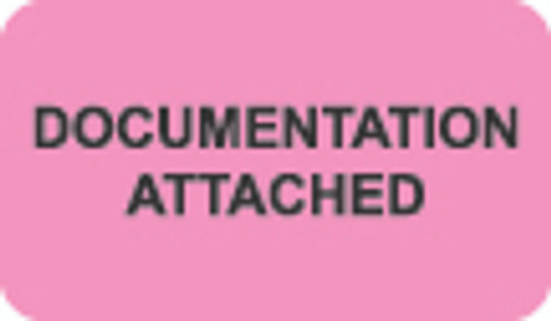 """Documentation Attached"" Label - Fl. Pink - 1 1/2"" x 7/8"" - Box of 250"