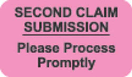 """Second Claim Submission""  Label - FL Pink - 1 1/2"" x 7/8"" - Box of 250"