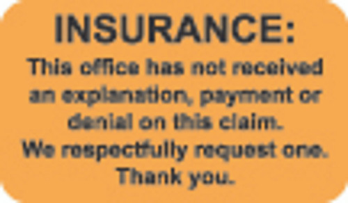 """Insurance""  Label 5 -  Fl. Orange - 1 1/2"" x 7/8"" - Box of 250"