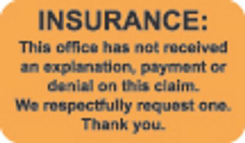 """Insurance""  Label 5 -  Fl. Orange - 1 1/2"" x 7/8"" - Box of 250"