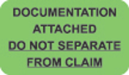 """Documentation Attached"" Label - Documentation Attached, Do Not Separate From Claim - Fl. Green - 1 1/2"" x 7/8"" - Box of 250"