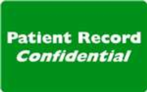 """Patient Record Confidential"" Label  - Green/White - 4"" x 2-1/2"" - 100/Box"