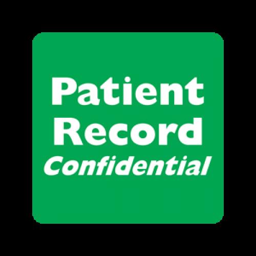 """Patient Record Confidential"" Label - Green/White - 2"" x 2"" - Box of 500"