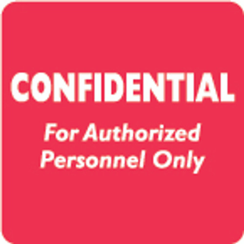 """Confidential For Authorized Personnel Only"" HIPAA Label - Red/White - 2"" x 2"" - 500/Box"