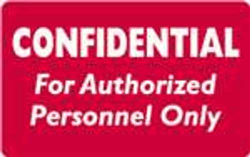Confidential For Authorized Personnel Only Label 1