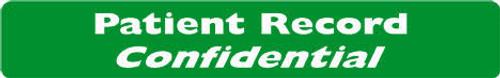 """Patient Record Confidential"" Label - Green/White - 6-1/2"" x 1"" - 100/Box"