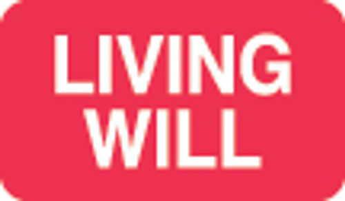 """""""Living Will"""" Label - Red/White - 1-1/2"""" x 7/8"""" - 250 Labels/Box"""