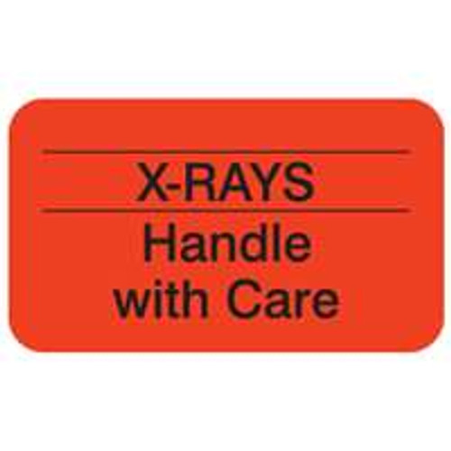 "Label - ""X-Rays Handle With Care"" -  1-1/2"" x 7/8"" - Fluorescent Red - 250/Roll - MAP2410"