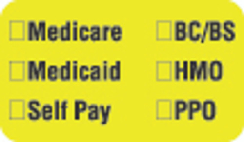 "Medicare Label - ""Medicare, Medicaid, Self Pay, BC/BS, HMO, PPO"" - Fl. Chartreuse - 1 1/2"" x 7/8"" - Box of 250"
